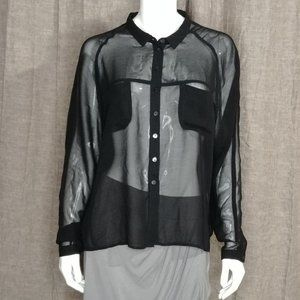 i jeans by Buffalo Sheer Black Blouse Long Sleeve